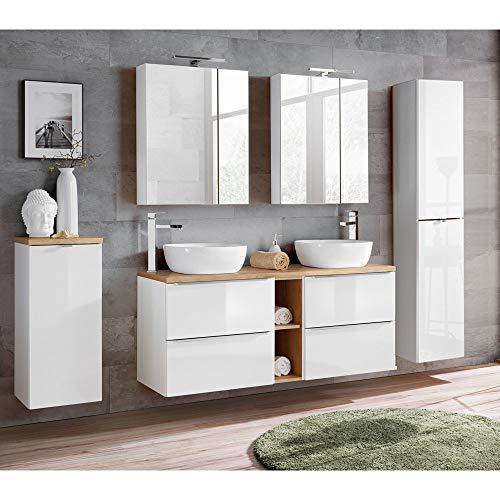 Lomadox Komplett Badmöbel Set mit Doppel-Waschtisch inkl. 2 Keramik-Aufsatzbecken 50cm, Hochglanz weiß & Wotaneiche inkl. LED-Spiegelschrank - Holz-badezimmer Doppel-waschtisch