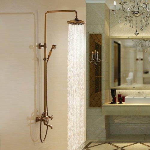 Antike Duschsystem Regendusche Handdusche mit Drei Löcher Zwei Griffe Messing