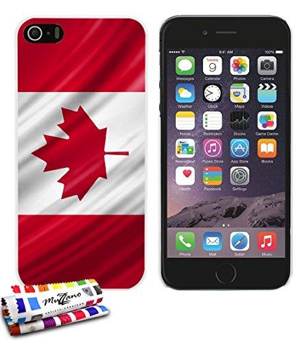 Ultraflache weiche Schutzhülle APPLE IPHONE 5 [Kanada Flagge] [Rot] von MUZZANO + STIFT und MICROFASERTUCH MUZZANO® GRATIS - Das ULTIMATIVE, ELEGANTE UND LANGLEBIGE Schutz-Case für Ihr APPLE IPHONE 5 Weiss