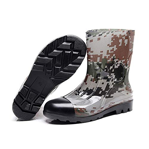 Mens Wellington Boots,Rubber Shoes,Middle Tube,Slippery,Camouflage,Rain Shoes,Plastic Shoes are Used for Fishing Shoes,Easy to Clean,Best for Wet Weather