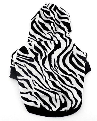 smalllee _ Lucky _ store Kleiner Hund Kleidung für Jungen Mädchen Zebra Hoodie Shirt, weiß und schwarz