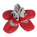 4 unids transpirable zapatos para perros antideslizante calcetines para perros zapatos ajustables para interiores de algodón mezcla de mascotas pata protectores con pegatinas mágicas correas(L)