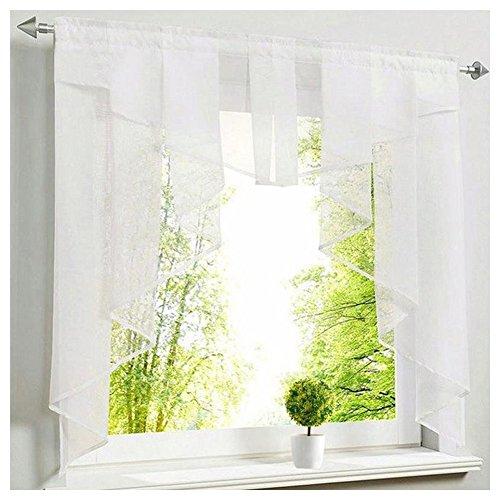 NECOHOME Voile Scheibengardinen mit Volant & Falten 1er Pack Transparent Tunnelzug Gardinen Umschlag Fenster Vorhang Deko (weiß, 140x145cm)