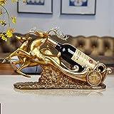 BWLZSP Decorazione cremagliera del vino da tavola creativo soggiorno TV mobile decorazione cervo europeo vino armadietto accessori cremagliera vino WL5071430 (Color : Two deer Golden)
