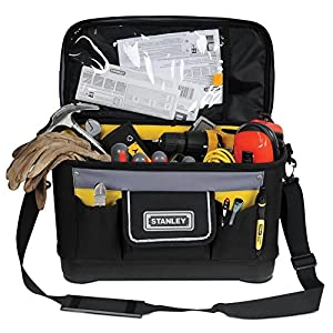 STANLEY 1-96-193 – Bolsa para herramientas con tapa plana, 44.7 x 26.2 x 25.1 cm, base reforzada