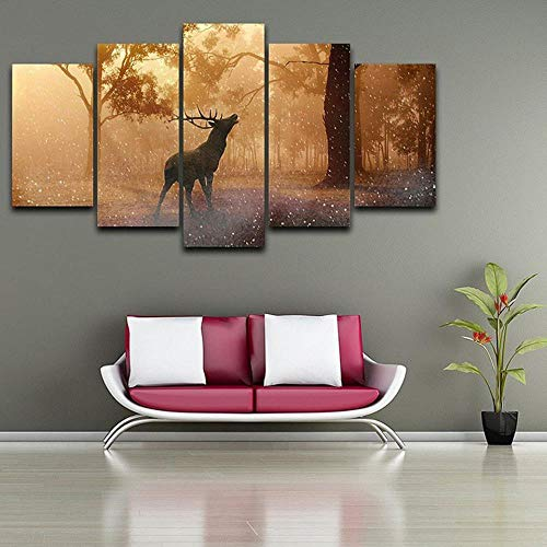 JGWLH Wandkunst Leinwand 5 Stück Malerei Rahmen 100X50 / 39, 4X19, 7