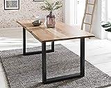 Baumkanten-Tisch Salito 140x80 cm | Esszimmertisch aus massiver Akazie | Baum-Tisch Natur | Metall U-Gestell in Schwarz