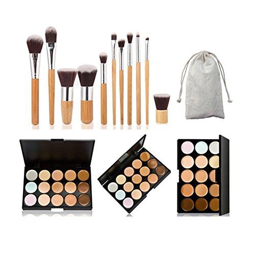 Demarkt 11pcs Pinceaux de Maquillage Kit Vegan professionnel Poudre Brosse Set Pour le Visage avec le sac de Voyage(11pcs Pinceaux de Maquillage+15 couleurs anticernes)