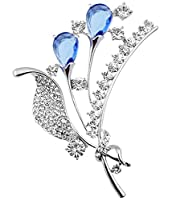 FENGJI Crystal Bouquet Broach Gold and Silver Plated Wedding Scarf Decoration Brooch Pin Silver Blue