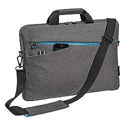 """PEDEA Laptoptasche """"Fashion"""" Umhängetasche Messenger Bag 15,6 Zoll (39,6 cm) mit Zubehörfach und Schultergurt, grau"""