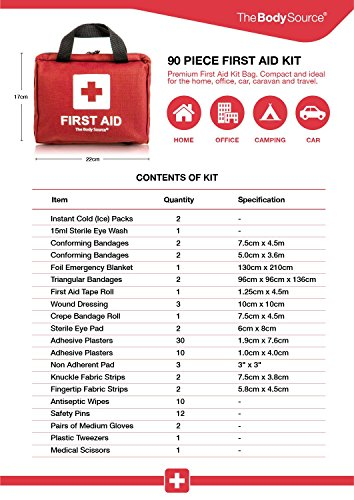 Erste-Hilfe-Set mit Kühlakkus, Augenspülung und Rettungsdecke 90-teilig - 4
