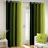 Super India Long Crush Solid 2 Piece Polyester Window Curtain Set - 5ft, Green
