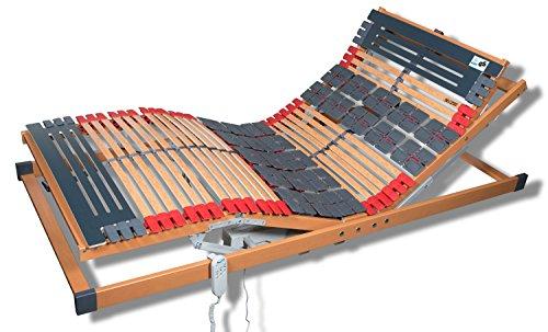 *FMP Matratzenmanufaktur 7 Zonen Teller Lattenrost Rhodos EL Komfort – Kopf- und Fußteil elektrisch verstellbar 2 Tellerzonen Lattenroste 120×200 cm*