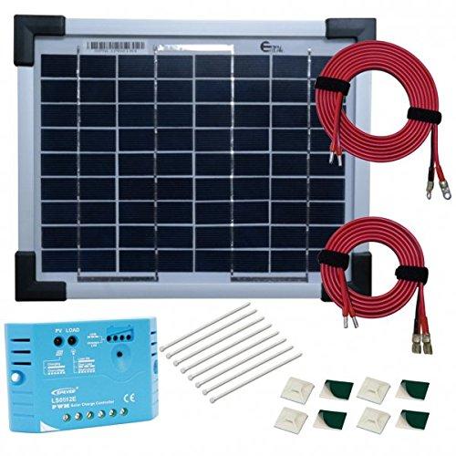 Kit pannello solare monocristallino 5w 12v con regolatore 5a e accessori di cablaggio