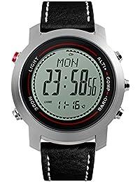 Hombre Reloj electrónico de deportes al aire libre,Escalar montañas Piel Countdown Alarma Luminoso Previsión del tiempo Y Watch adolescentes multifunción-E