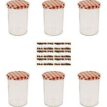Viva Haushaltswaren - 6 x großes Marmeladenglas / Einmachglas 440 ml mit Deckel, Twist-off Gläser Set in Sturzform -als Einweckgläser, Vorratsdosen etc. verwendbar (inkl. Beschriftungsetiketten)