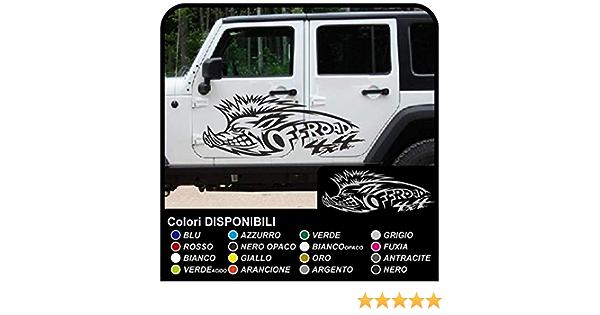 motivo: cinghiale YSHtanj colore: bianco 4 x 4 Adesivo decorativo per auto