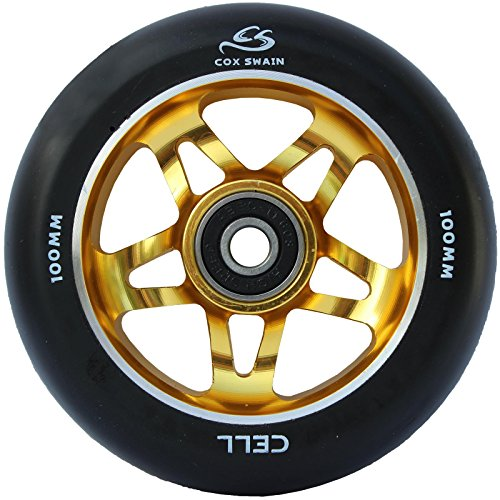COX SWAIN 2 Stk. High End 100mm Stunt Scooter Rollen Alu Core - Abec 11 Lager, Colour: Cell (Black/ Gold), Size: 100mm