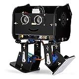 Elegoo Kit Robot Arduino Pingouin Dipode avec Tutoriel d'Assemblage Français STEM UNO Microcontrôleur Programme Ultrasonic Multifonction Jouets Radiocommandés Robots pour Enfants et Adultes DIY - Noir