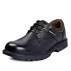 Bacca Bucci Real Leather Steel Toe Cap Lace up Combat Boots-Black