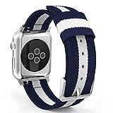 MoKo Armband für Apple Watch Series 4/3 / 2/1 38mm, Nylon Strick Replacement Uhrenarmband Sportarmband Band Erstatzband mit Schließe für Apple Watch Nike+ 38mm 2017, Blau/Weiß