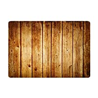 "Hidecor Front Door Mat Indoor Welcome Rustic Old Barn Wood Doormat Non Slip Carpet Flannel Rug for Bathroom Kitchen Bedroom Floor,18""x30""(Wood Board)"