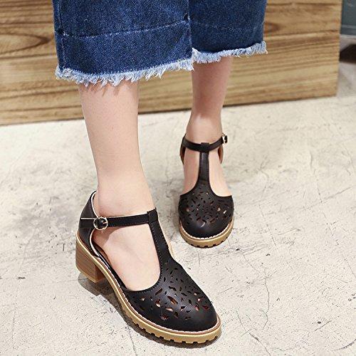 WZG Printemps et boucle d'été hauts talons épais pente croûte de pain avec des sandales romaines Baotou wisp vide Black
