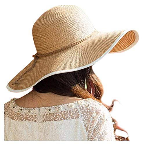 DRESHOW Damen Schlaff Strand Hut für Frauen Große Krempe Stroh Sonnenhüte Aufrollen Packbar UPF 50+ (Style B-khaki, Einheitsgröße) (Stroh-sonnenhut Frauen)