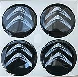 CITROEN NERO 60 MM TUNING 3D 3M RESINATO COPRIMOZZI BORCHIE CAPS ADESIVI STICKERS X 4 PEZZI