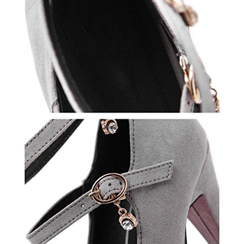 Scothen Heels Ladies cheville Strap Plateau Pompes en daim avec boucle fermé 10cm talon chaussures de soirée élégante Femmes Mode Stiletto Sexy Heels Platform Pumps Chaussures de mariage Gris