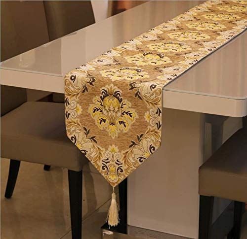 tianmaxingkong European Luxury Table Runner American Style Elegant Crown Flower Classic Western Table Decoration Tuth 32X210Cm Pro