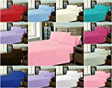Decent PLAIN DYED Flat Bed Sheets ~ PolyCotton Fabric with Optional PILLOWCASES & V-CASES ~ 12 COLORS uk sizes NEW (DOUBLE Flat Sheet, SKY BLUE)