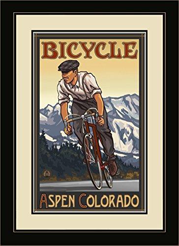 Northwest Art Mall pal-0814fgdm DHB Aspen Colorado Downhill Biker Berge gerahmtes Wandbild Art von Künstler Paul A. lanquist, 16by 22