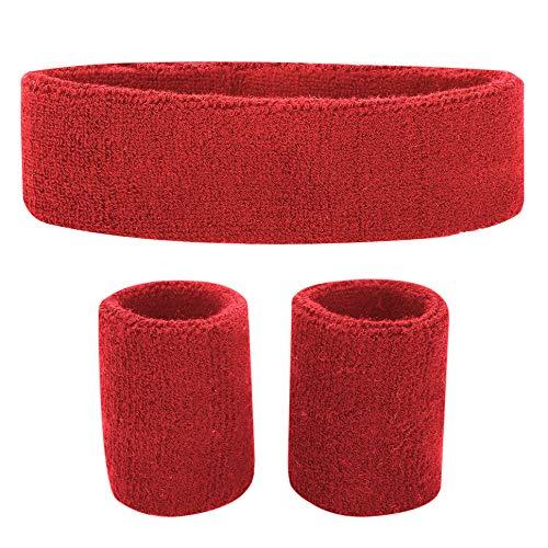 Fussox Schweißband Set Stirnband Sport Handgelenk und Kopf Schweissband Baumwolle Schweißbänder (Rot)
