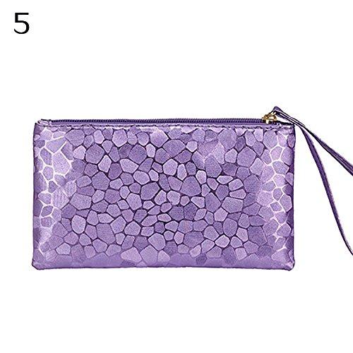 AchidistviQ Frauen \ 's Glitzer Kunstleder Wristlet Kupplung Geldbörse Travel Toiletry Make-up Bag Violett (Designer-handtaschen Clearance)