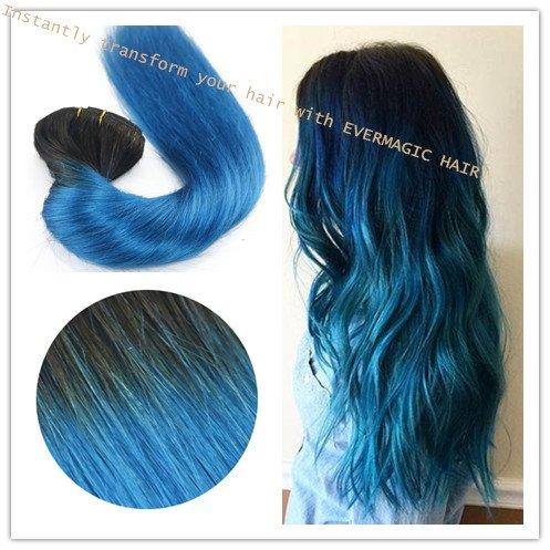 Ombre Couleur 1B/Sapphire 35,6 cm 40,6 cm 45,7 cm 50,8 cm 55,9 cm 100% humains Remay Cheveux raides Clip en Extensions de cheveux