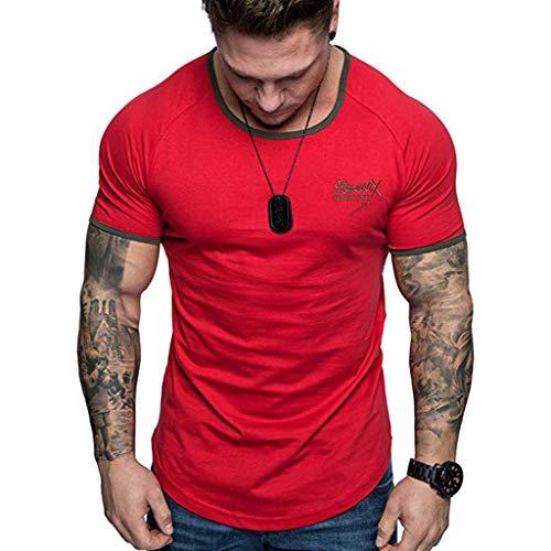 Camisetas Casuales Hombre, SUNNSEAN Camiseta de Manga Corta Estampada Cuello Redondo Print Estilo Casual Camisas Slim Fit Camiseta Deporte T Shirt Verano
