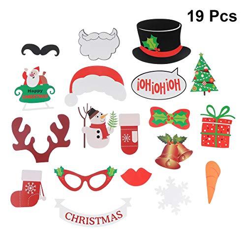 Tinksky Weihnachten Photo Booth Requisiten 19Stück DIY Kit Xmas Photo Booth Props Party Supplies Weihnachten Geschenk