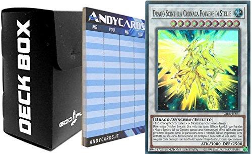 Yu-Gi-Oh! Drago Scintilla Cronaca Polvere di Stelle - Super Rara CIBR ITSE1 con 1 Deck Box Nero God-Player e con 1 Segnapunti ANDYCARDS