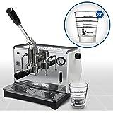 LaGondola Bundle–Máquina Caffe 'Espresso cromado pontevecchio Lusso con manómetro y juego 6simpatiche tazas vasos de cristal Made in Italy