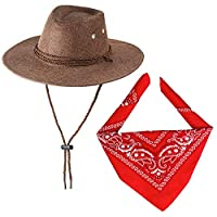 Haichen Cowboy Costume Accessories Cowboy Hat with Bandana Cowboy Set for Halloween Cosplay Fancy Dress up