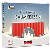 Brubaker - Bougies de Noël en Cire - Lot de 20 - Idéales pour Sapin & Pyramide de Noël - Ø 1,25 cm - Rouge