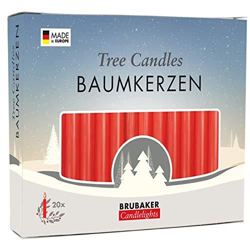 Brubaker 20er Pack Baumkerzen Wachs Weihnachtskerzen Pyramidenkerzen Christbaumkerzen Rot