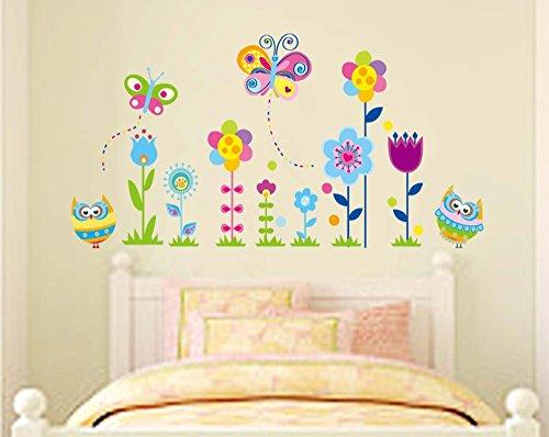 ufengke® Hiboux de Bande Dessinée Papillons et des Fleurs Stickers Muraux, La Chambre des Enfants Pépinière Autocollants Amovibles