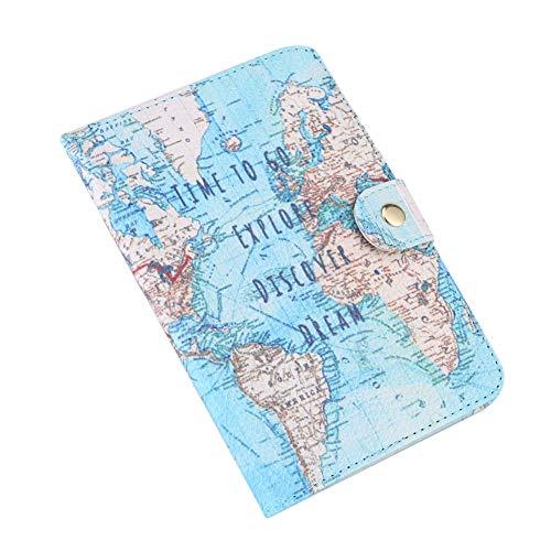Delaman titolare del passaporto cute printing pu leather protection cover id carte di credito caso map per uomini e donne