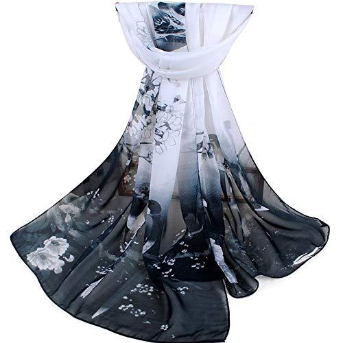 Sciarpa lunga in chiffon elegante da donna morbida scamosciata da spiaggia con scialle avvolgente (nero + bianco)