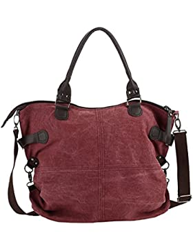 DoubleMay Damen Vintage Handtasche Mädchen Canvas Schultertasche Groß Umhängetasche Shopper für Outdoor Freizeit...