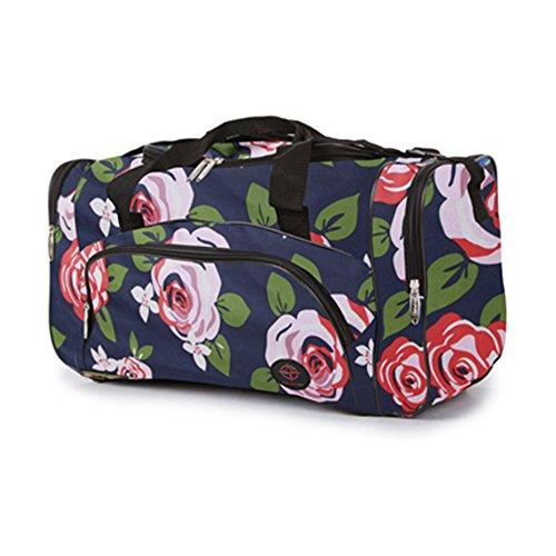 Fashion Essentials-Zipped Seitentaschen und Fronttasche Gepäck holdall Taschen (Bloom grey/black) Rosa red