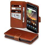 TERRAPIN, Kompatibel mit Nokia 6 2018 / Nokia 6.1 Hülle, [ECHT Leder] Brieftasche Case Tasche mit Standfunktion Kartenfächer und Bargeld - Cognac