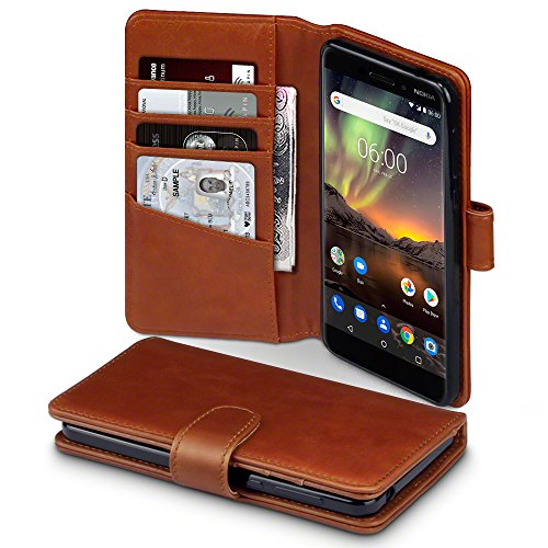 TERRAPIN, Kompatibel mit Nokia 6 2018 / Nokia 6.1 Hülle, [ECHT Leder] Brieftasche Case Tasche mit Standfunktion Kartenfächer und Bargeld - Cognac EINWEG